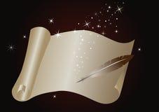 Rouleau magique avec une plume et un rayonnement lumineux illustration stock