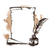 Rouleau, plume et encrier encastré de papier Illustration de vecteur Image libre de droits