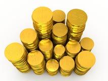 Rouleaus delle monete dorate  Fotografie Stock