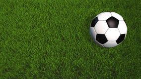 Roulement de ballon de football sur l'herbe - animation 3D avec l'espace de copie - vidéo 4K illustration de vecteur