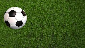 Roulement de ballon de football sur l'herbe - animation 3D avec l'espace de copie - vidéo 4K illustration libre de droits