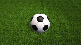 Roulement de ballon de football sur l'herbe - animation 3D avec l'espace de copie - vidéo 4K illustration stock