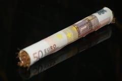 Roulement de 50 parties II d'euro Images libres de droits