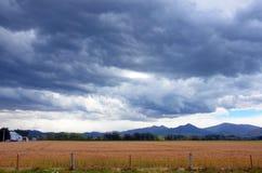 Roulement de tempête dans au-dessus des terres cultivables Photos stock