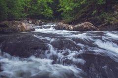 Roulement sauvage de rivière de montagne au-dessus de grandes roches photo libre de droits
