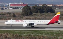Roulement sur le sol d'Ibérie Airbus A321 Image stock