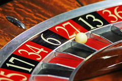 Roulette. Ball stopped in a roulette position Royalty Free Stock Photography