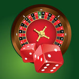 Roulette. Illustration of roulette and red dices Royalty Free Stock Image