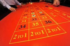 Roulette. Table with chips on different numbers Royalty Free Stock Photos