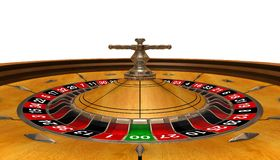 Roulette. Gambling arena (3D rendered roulette, wide angle, view inside Stock Photography