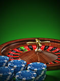 Roulette. Wheel with blue chips Stock Photos