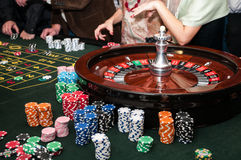Roulette. Photo of roulette gambling casino table Stock Photos