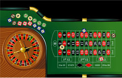Roulette. Vector illustration of roulette table with chips royalty free illustration