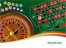 Roulette. Vector illustration of roulette table with chips Royalty Free Stock Photography