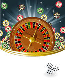Roulette. Vector illustration of roulette table with chips vector illustration