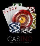 Roulette avec les puces et la carte de tisonnier, concept de casino, illustration 3d des éléments de jeux de casino Illustration Libre de Droits