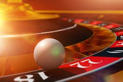 Roulette Ball Casino Game. Roulette Ball Wheel Play. 3D Render Illustration with Roulette and the Ball in Extreme Closeup stock illustration