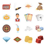 Roulette, cards, croupier, alcohol, and other attributes. Casino and gambling set collection icons in cartoon style Stock Photo