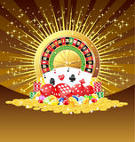 Roulette, cards, dices, chips, gemstones and golden coins background Royalty Free Stock Images