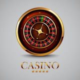 Roulette in the casino. Casino advertising design with a tape measure on a gray background Royalty Free Stock Image