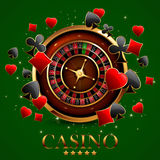 Roulette in the casino. Casino advertising design with a tape measure on a green background Royalty Free Stock Photos