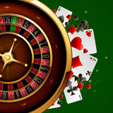 Roulette in the casino. Casino advertising design with a tape measure on a green background Stock Photos