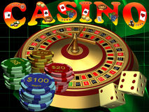Roulette with the casino chips Stock Photos