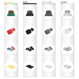 Roulette in the casino, dice, chips, gold credit card. Casino set collection icons in cartoon black monochrome outline. Style vector symbol stock isometric Stock Images