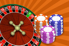 Roulette and chips on an abstract background Royalty Free Stock Photos