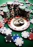 Roulette & Chips in Casino Stock Photos
