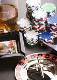 Roulette & Chips in Casino Stock Image