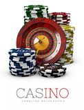 Roulette with Chips, Casino concept, 3d Illustration of Casino Games Elements isolated white Royalty Free Stock Photos