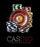 Roulette with Chips, Casino concept, 3d Illustration of Casino Games Elements Stock Photos