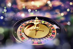 Roulette close up. With lights in the background stock illustration