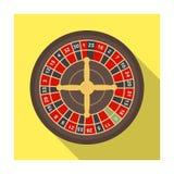 Roulette con le cellule rosse e nere Il gioco del casinò più popolare nel mondo Singola icona di Kasino nel vettore piano di stil Fotografia Stock