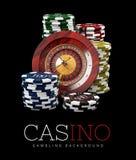 Roulette con los microprocesadores, concepto del casino, ejemplo 3d de los elementos de los juegos del casino fotos de archivo