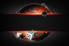 Roulette Copy Space Concept. Black Roulette Wheel Casino Game with Dices and Chips Conceptual 3D Rendered Illustration royalty free illustration