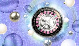 Roulette de Noël et flottement de boules d'argent Photos libres de droits
