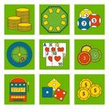 Roulette di conquista del black jack di simboli del giocatore del poker delle icone del gioco del casinò Immagini Stock Libere da Diritti