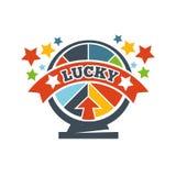 Roulette di vittoria o icona fortunate di vettore di lotteria di vittoria Fotografie Stock