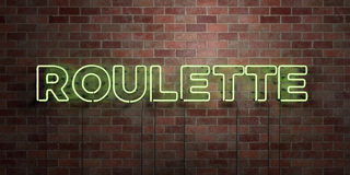 ROULETTE - fluorescent Neon tube Sign on brickwork - Front view - 3D rendered royalty free stock picture Royalty Free Stock Image