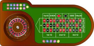 Roulette game table. With colorful chips for online casino, vector Royalty Free Stock Images