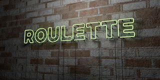 ROULETTE - Glowing Neon Sign on stonework wall - 3D rendered royalty free stock illustration Royalty Free Stock Photo