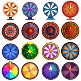 Roulette icon set, cartoon style vector illustration