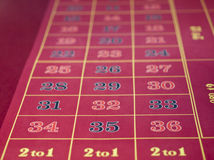 Roulette layout in a casino. Gambling casino on a ship. Details of a roulette layout with inside and outside bets. Focus is on 31, 32 and 33 of the inside bets stock images
