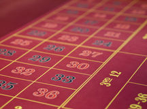 Roulette layout in a casino. Gambling casino on a ship. Details of a roulette layout with inside and outside bets. Focus is on 33 of the inside bets. No chips royalty free stock photography