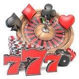 Roulette, matrice, 777, jouant des signes de carte et jouant les puces 3D Illustration Stock