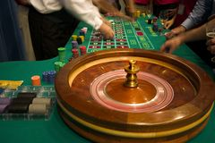 Roulette in motie Stock Fotografie