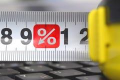 Roulette op het toetsenbord met symbool van percenten royalty-vrije stock fotografie