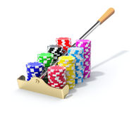 Roulette rake with the chips Stock Photo
